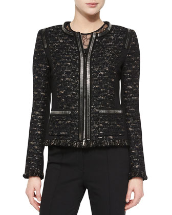 Dondi Zip-Chain Jacket, Short-Sleeve Lace-Inset Top & Boot-Cut Pants