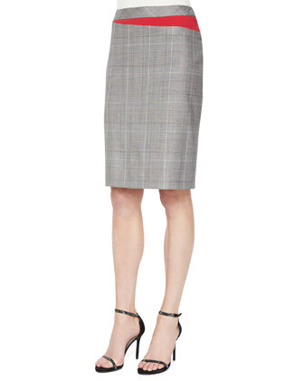 Short-Sleeve Fitted Top, Knit-Trimmed Open Cardigan & Plaid Business Skirt ...
