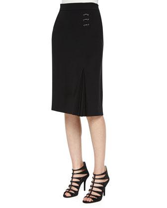 Ring-Detail Business Skirt, Black