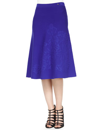 Embossed Cap-Sleeve Top & A-Line Skirt, Ink