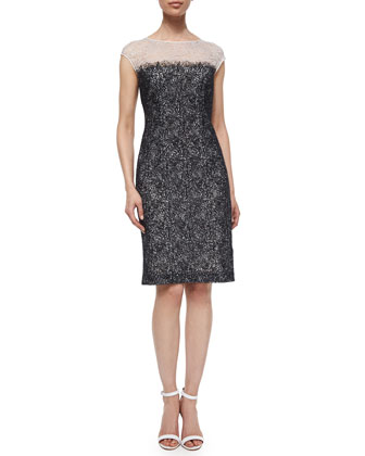 Embroidered Chantilly Lace Sheath Dress, Off White