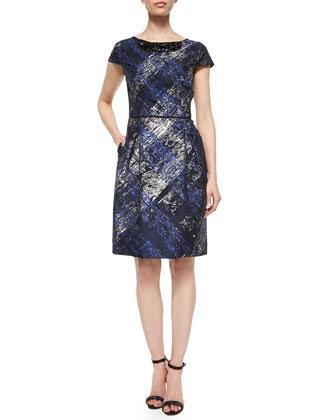 Short-Sleeve Embroidered-Neck Dress, Black/Ink