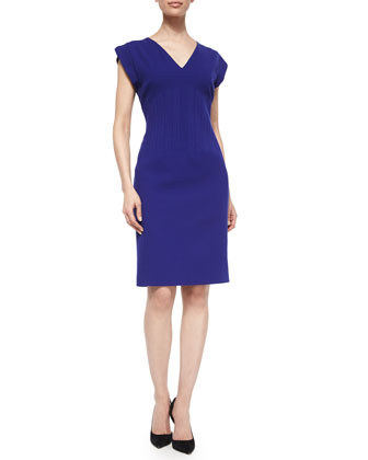 Short-Sleeve Vertical Seam Sheath Dress, Ink