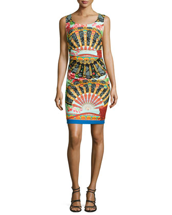 Fan-Print Charmeuse Sheath Dress