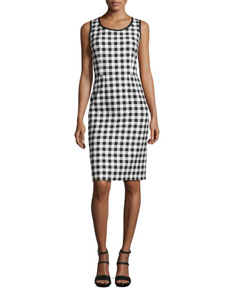 Gingham Scoop-Neck Sheath Dress, Black/White