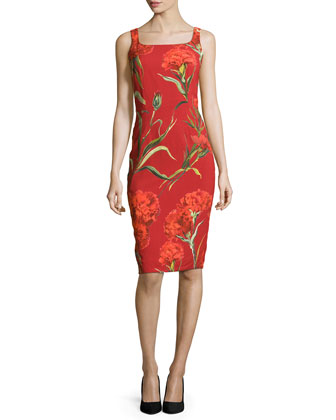Floral-Print Square-Neck Tank Dress, Red