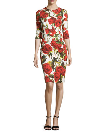 Rose-Print Half-Sleeve Jacquard Dress