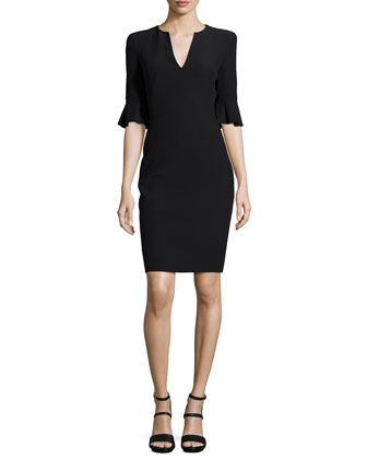 Bell-Cuff V-Neck Sheath Dress, Black