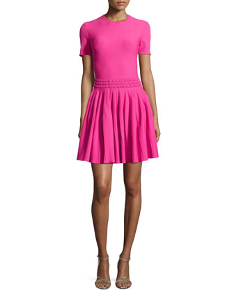Textured-Waist Pleated Dress, Pink