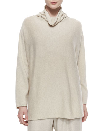 Funnel-Neck Long Sweater