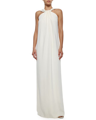 Halter-Front Crepe Cady Gown, Cream