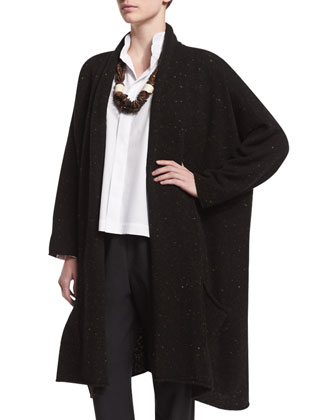 A-Line Shawl-Collar Cardigan, Double-Collar Cotton Poplin Blouse, Carved ...