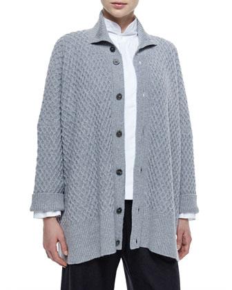 High-Neck Trellis Button Cashmere Cardigan, Double-Collar Cotton Poplin ...