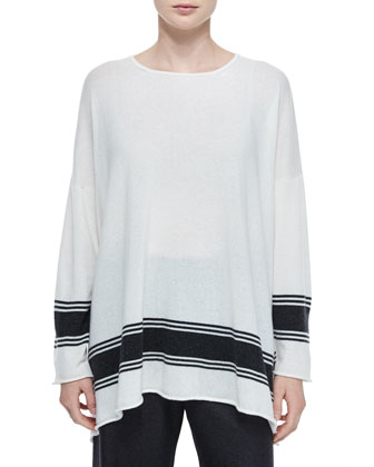 Ribbon-Striped Cashmere A-Line Sweater & Silk-Cashmere Wide-Leg Pants