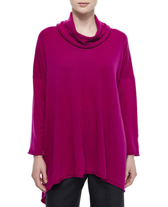 Cowl-Neck Long Cashmere Sweater