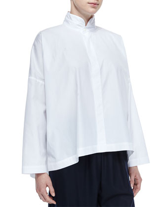 Short-Sleeve Chenille Cardigan, Double-Collar Cotton Poplin Blouse, ...