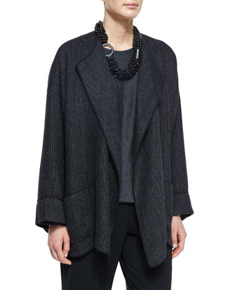 Cuffed Rib-Knit Open Jacket, Long-Sleeve Cashmere Sweater, Multi-Strand ...