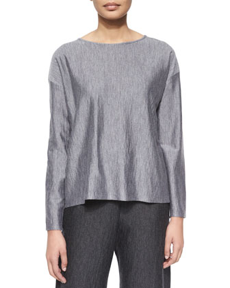 Jersey Drape-Front Cocoon Sweater, Long-Sleeve Bateau-Neck Top, Flared ...