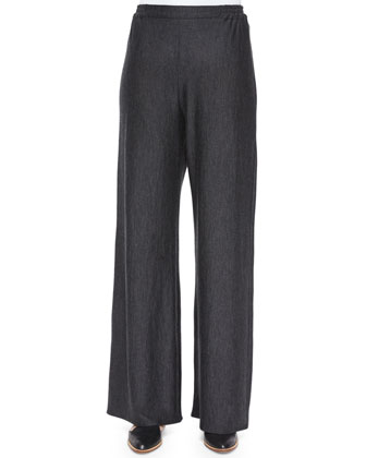 Flared Wide-Leg Trousers, Charcoal
