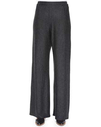 Flared Wide-Leg Trousers, Charcoal