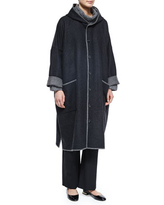 Two-Tone Hooded Woven Coat