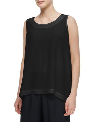 A-Line Silk Shell, Black