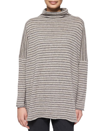 Two-Tone Long Slope-Shoulder Coat, Cashmere-Blend Striped Sweater & Stretch ...