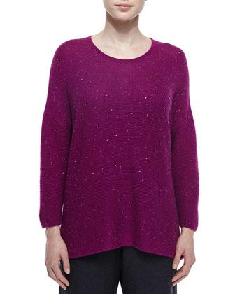 Cashmere-Blend Paillette Sweater, Damson