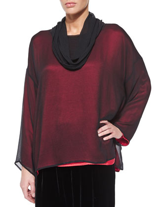 Silk Chiffon Cowl-Neck Top