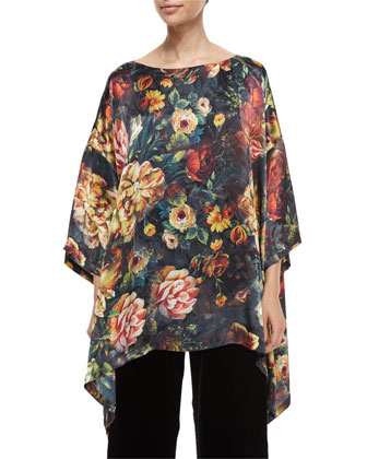 Oil Paint Floral-Print Draped Top, Velvet Wide-Leg Trousers & Multi-Strand ...