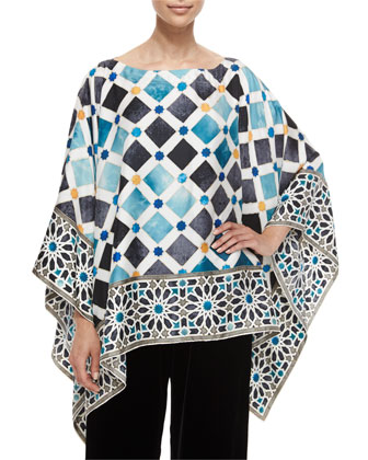 Tile-Print Silk Caftan Top