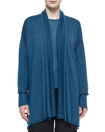 Draped Cashmere-Blend A-Line Cardigan, Round-Neck Cashmere-Blend Sweater & ...