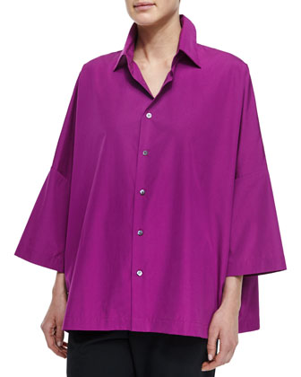 Sloped-Shoulder Button Blouse