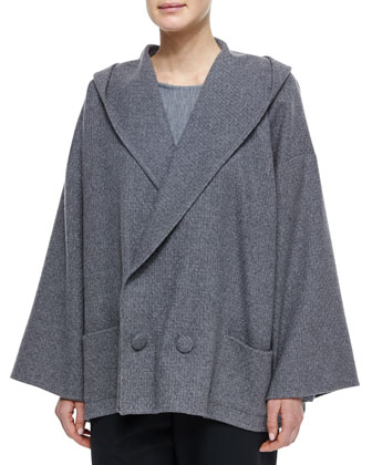 Hooded Double-Breasted Cashmere Coat, Long-Sleeve Bateau-Neck Top & Wool ...