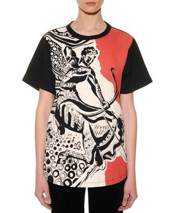Sagittarius Graphic-Print Sheer-Back T-Shirt