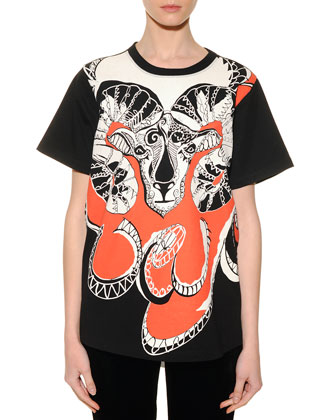 Aries Graphic-Print Sheer-Back T-Shirt
