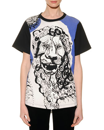 Leo Graphic-Print Sheer-Back T-Shirt