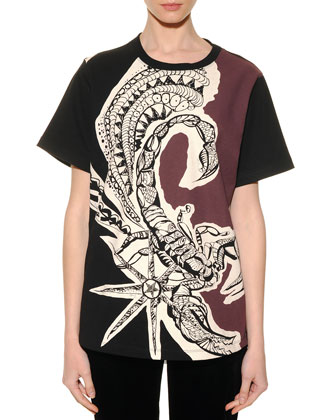Scorpio Graphic-Print Sheer-Back T-Shirt