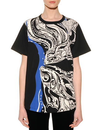 Pisces Graphic-Print Sheer-Back T-Shirt