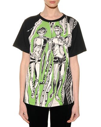 Gemini Graphic-Print Sheer-Back T-Shirt