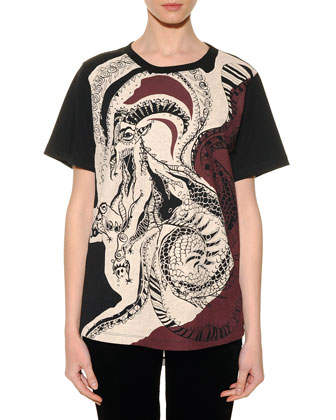 Capricorn Graphic-Print Sheer-Back T-Shirt