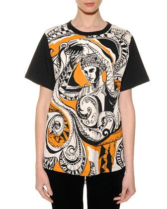 Aquarius Graphic-Print Sheer-Back T-Shirt
