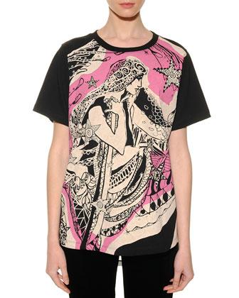 Virgo Graphic-Print Sheer-Back T-Shirt
