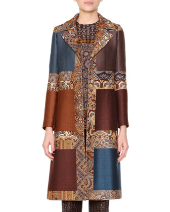 Colorblock Jacquard Fitted Coat, Paisley-Embroidered Floral Jacquard Tunic ...