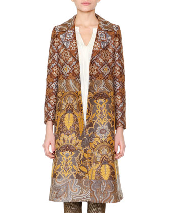 Paisley Jacquard Fitted Coat, Split-Neck Crystal-Pleated Tunic & ...