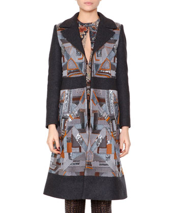 Geometric-Embroidered Combo Fitted Coat, Floral-Print Slit-Keyhole Blouse & ...