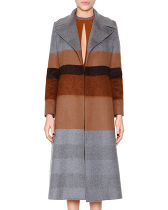 Striped Wool-Blend Coat & Slit-Keyhole Pleated Dress