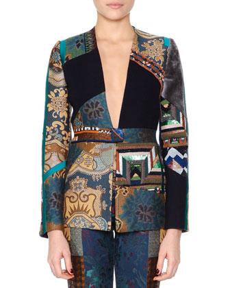 Beaded Patchwork V-Neck Jacket