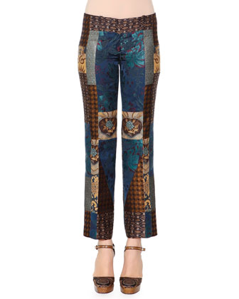 Patchwork Jacquard Flared Pants
