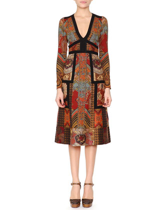 Patchwork Paisley Jacquard Dress